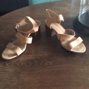 J Crew Beige Sand Suede Sandals Heels 7.5